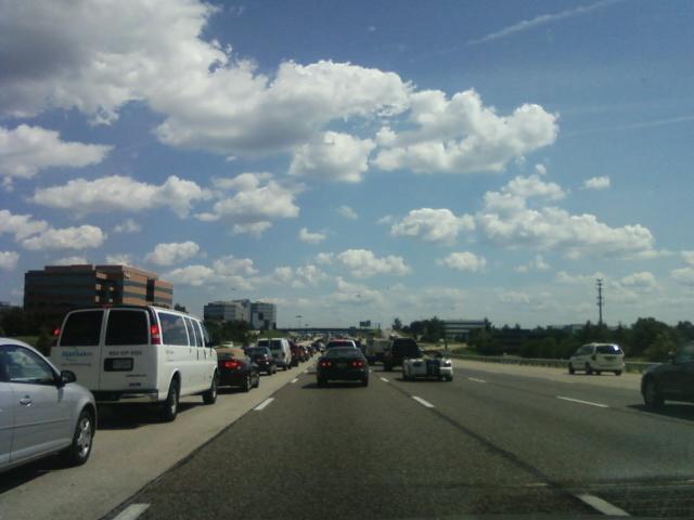 a traffic jam on I-270