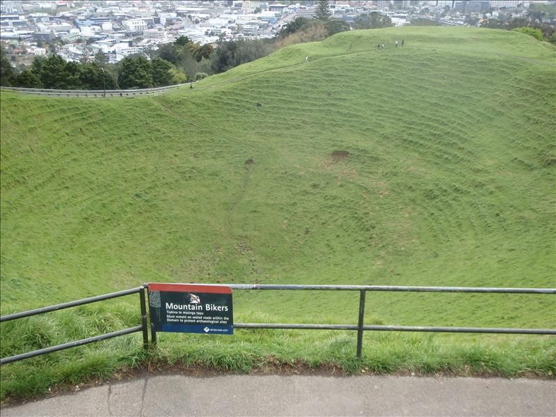 One of the many volcanoes around Auckland - this is mt. Eden