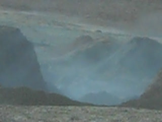 Magma spitting fro geysers of an active volcano on Chilean/Bolivian border