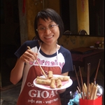 Vina our teacher with our tasty spring rolls in Hoi An