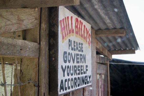HILLBILLY SIGN, SAGADA