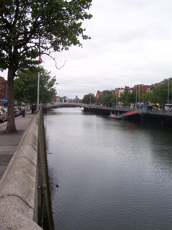 The unimpressive River Liffey, which runs through the middle of Dublin.