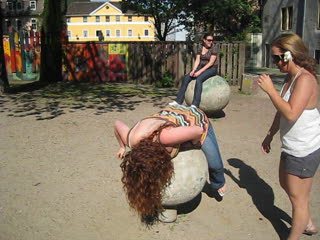 friends on a rolling ball