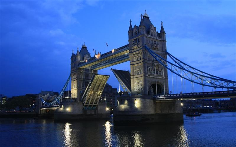 Opened Tower Bridge, Thames, London, United Kingdom