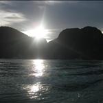 Sun setting behind mountains on Ko Phi Phi