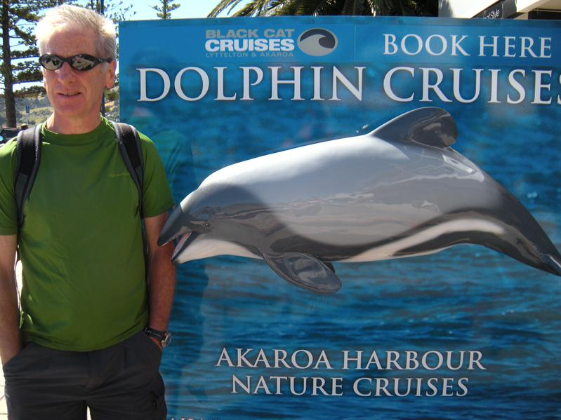 Pete with a real size model of a Hectors Dolphin