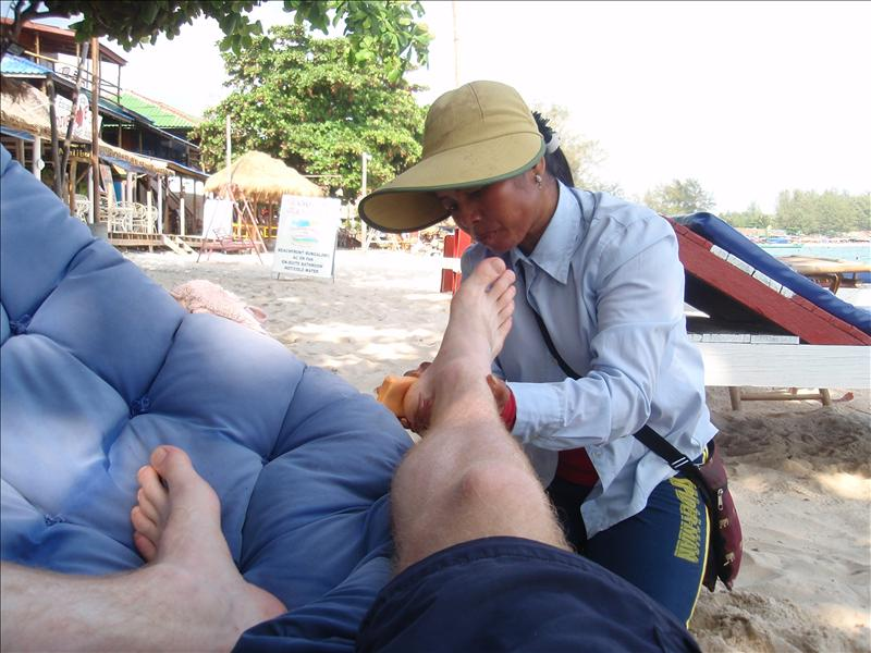 Pedicure on the beach