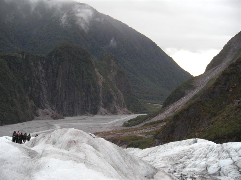 Looking towards the sea from the top of Fox Glacier