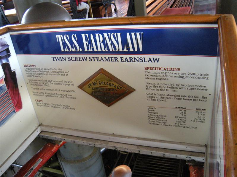 Inside the Earnslaw steam boat