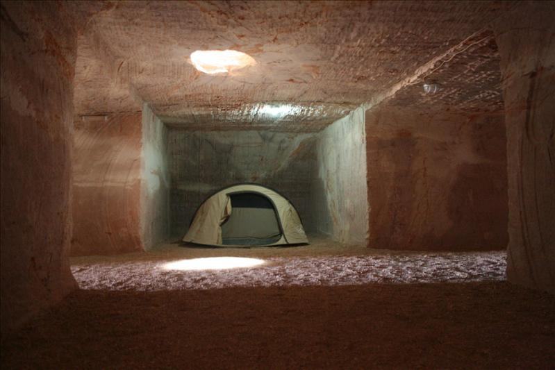 Camping underground at Cooper Pedy.