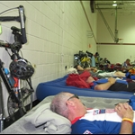 Wilberforce (65 miler):  Typical scene after a long ride - Dad, Uncle Don, and Mike on the phone.