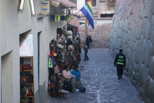 Narrow cobbled streets, with beautiful inca walls (right)