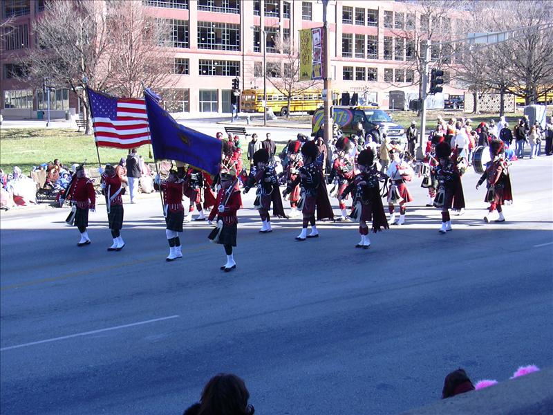 the usual marching bands march down Market street