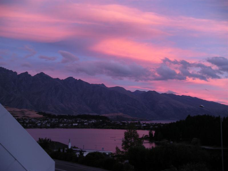 Beautiful sunset across the Remarkables from our hotel room in Queenstown