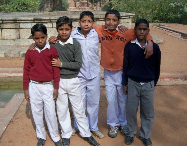 BOYS AT HUMAYUN'S TOMB, DELHI