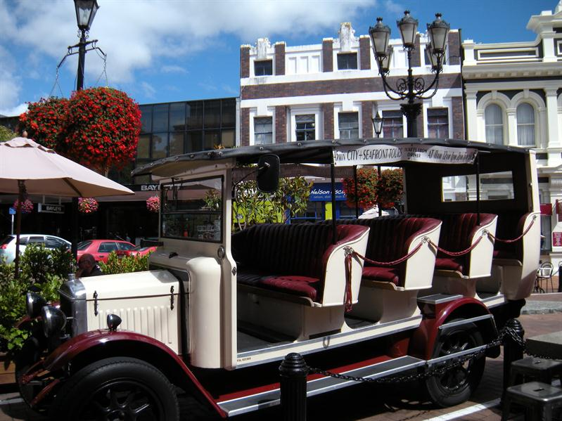 A charabanc parked up in Nelson