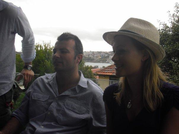 Tim and Bea on balcony at Rogers house - overlooking Bondi