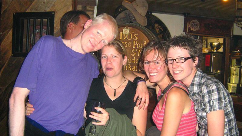 James, Tess, Sam and Amy in Bojangles in Alice