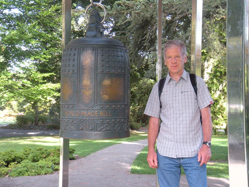 Pete by the Peace Bell in Christchurch Botanical Gardens