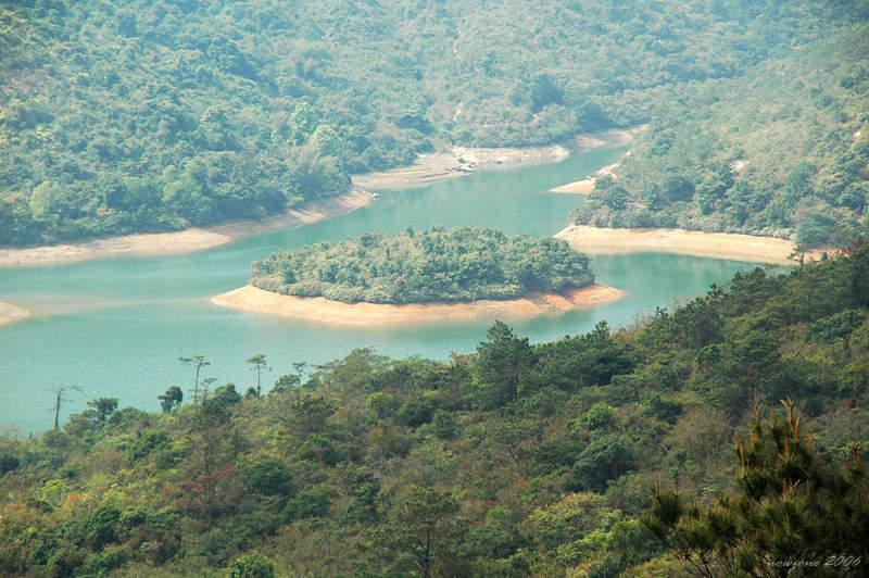 Ho Pui Reservoir is seen off to the right of Mountain Biking Trail, nestling in a deep valley