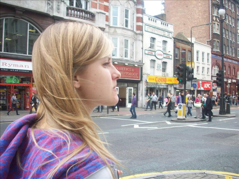 Jess roaming the streets of london.
