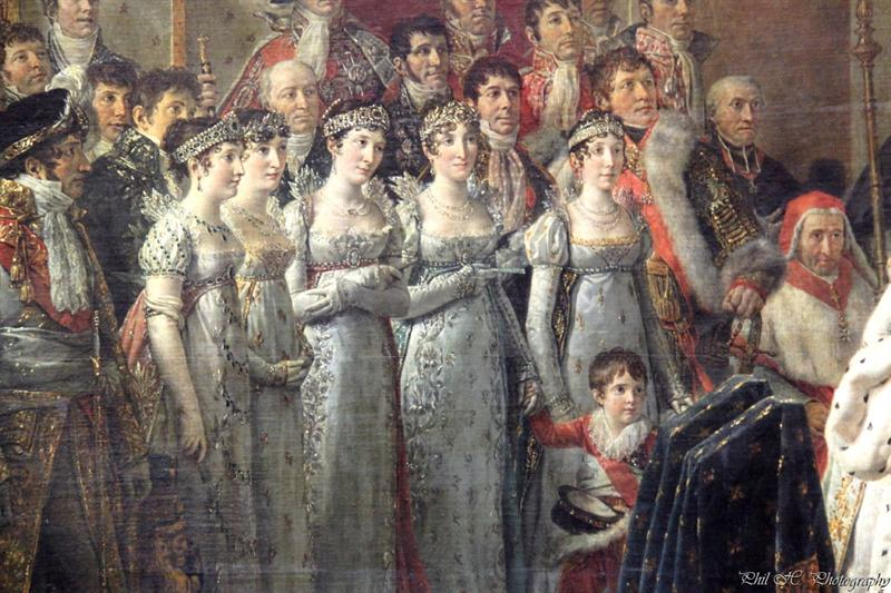 Louvre - David, Coronation of Napoleon (He painted 2 with the difference that in the one situated in the Louvre all sister of Napoleon wear white, whereas on the other painting one is wearing pink.)