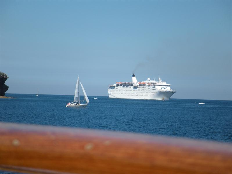 A large cruise liner coming alongside us on the ferry from Manly