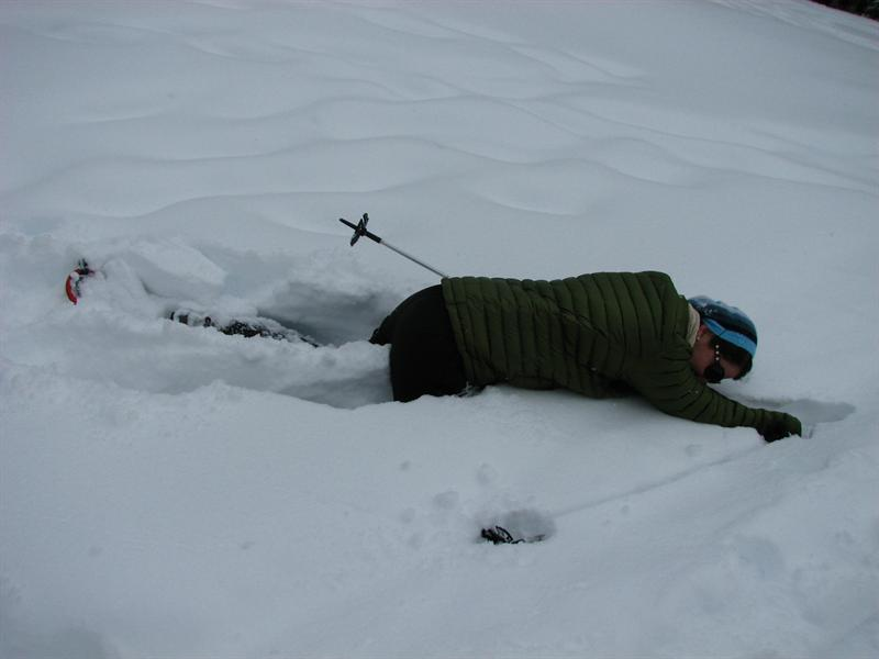 At least when you're snowshoeing you don't have far to fall.