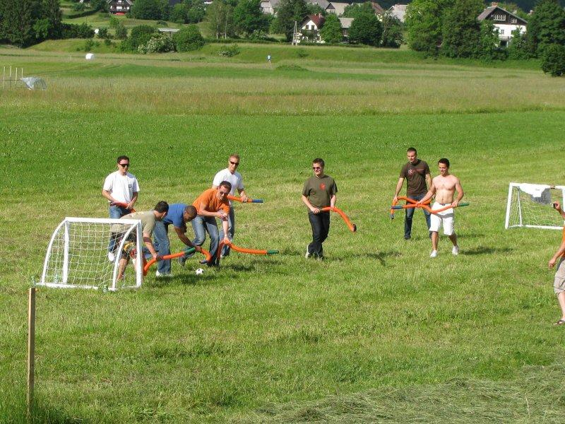 "A local game of ""floppy hockey"" played with sponge sticks."