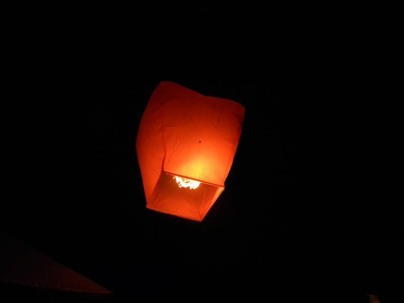 晚上放天燈