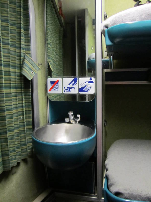 personal sink in the night train cabin!