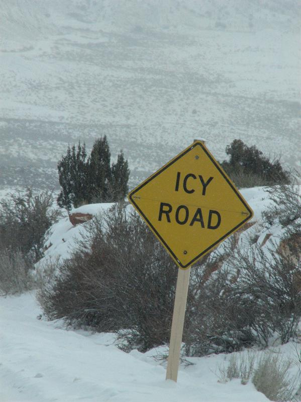 "Cross that out, should read ""snowy road"""