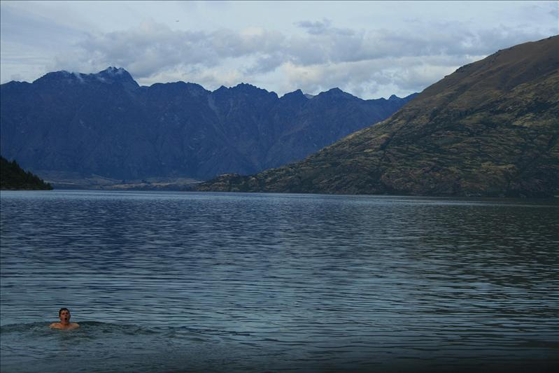 A VERY chilly dip at 12 Mile Delta - Queenstown