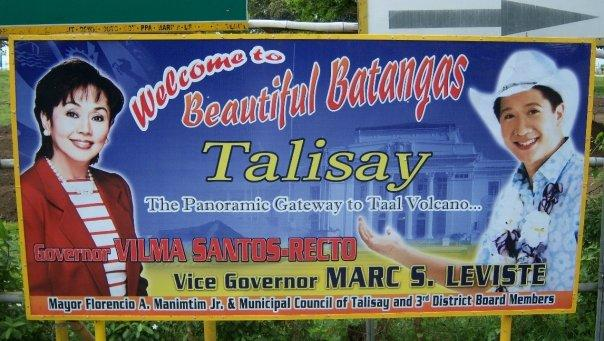 'WELCOME TO TALISAY' ROAD SIGN
