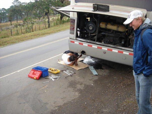 Bus broke sown in Honduras...