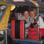 Sonya and Alex on a fast tuk-tuk ride through central Bangkok