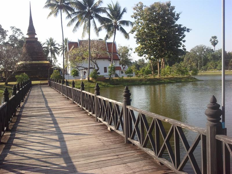 bridge to the island. The island is a temple