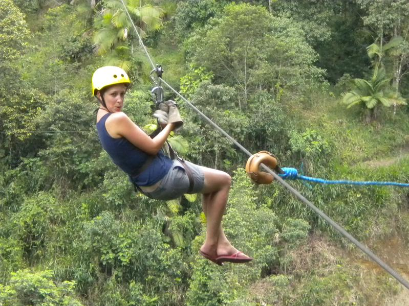 Abby Zip-lining through the forest...