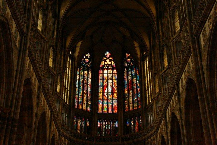 Intricate stained glass inside the St. Vitus Cathedral