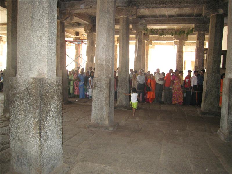 Line to enter the temple