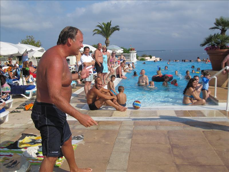 Keith from Canada getting ready to go on the moving carpet in the pool