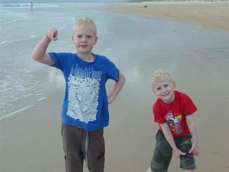Ethan and James on the  beach