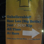 Beer Lao big bottle just 7,500 kip! (50p)