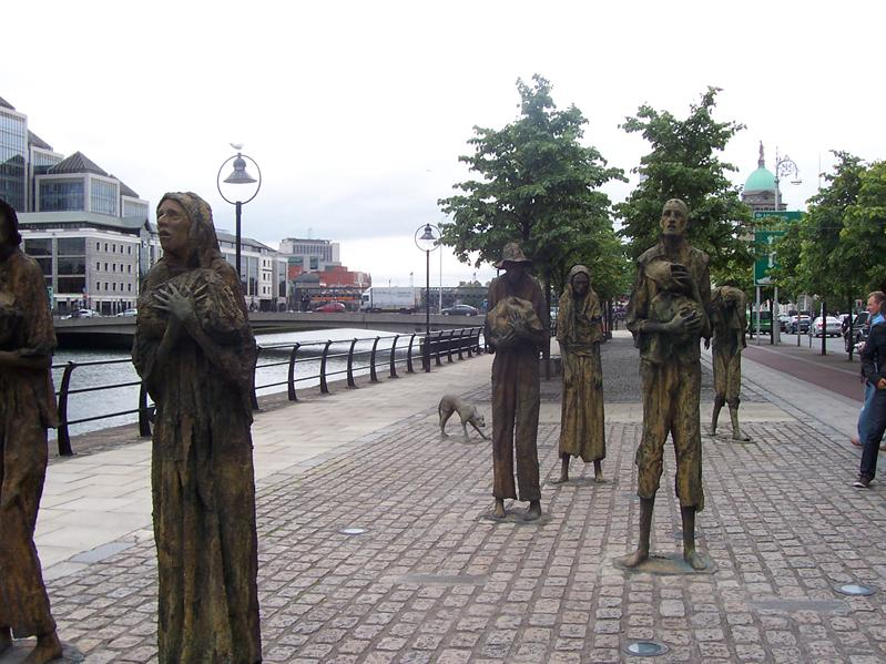 Famine memorial near the river.