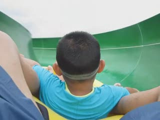 Bryan climbed up 60 feet to ride this water slide