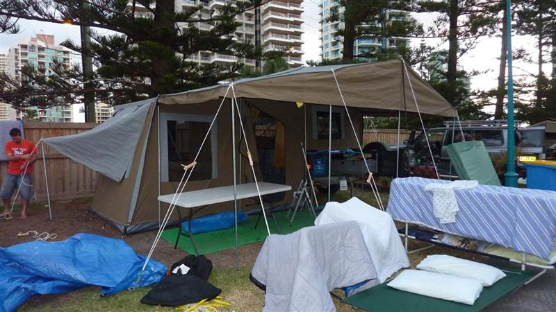 Setting up camp at Surfers. Drying everything out like Gypsies