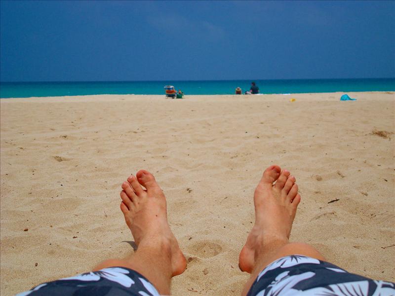 Kona - Laying at Hapuna Beach