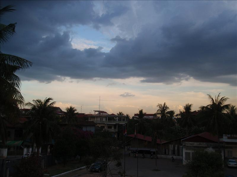 Evening clouds gather over S-21 Tuel Sleng prison