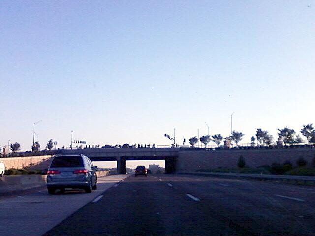 the Olive street overpass is landscaped