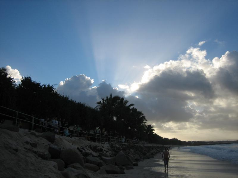 Sun making an appearance at Noosa beach